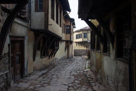 Traditional houses in the Old Town of Plovdiv, Bulgaria