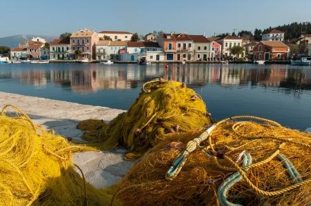 Fishing nets in the harbor of Fiskardo, Kefalonia, Greece