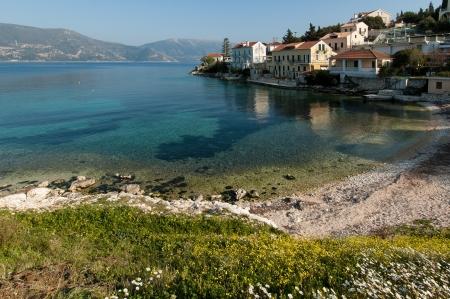 Beautiful beach with turquoise water near Fiskardo, Kefalonia, Greece Stock Photo