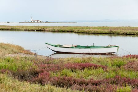 Landscape in Axios Delta, near Thessaloniki, Greece  Axios or Vardaris is the second largest river in the Balkans  Stock Photo