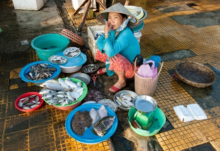 Hoi An, Vietnam - January 8, 2008: An unidentified woman sells sea food. Hoi An is an UNESCO World Heritage site and its fish market is a major attraction for tourists.