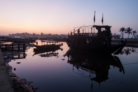 The harbor of Hoi An before sunrise   photo