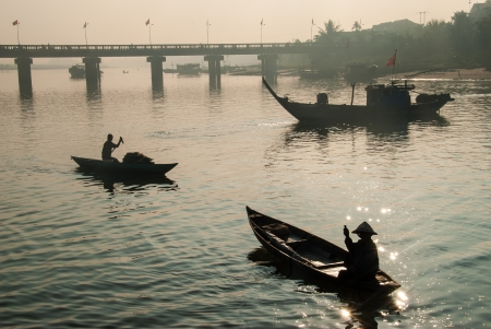 Sunrise at the harbor of Hoi An, an UNESCO World Heritage site in Vietnam