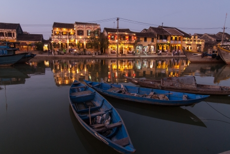 heritage site: View of Hoi An at dusk. Hoi An is an UNESCO World Heritage site in Vietnam.