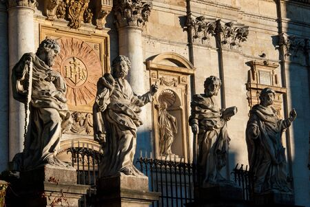 Krakow, Poland - October 30, 2006: Imposing baroque statues of the 12 Apostles at the front of the Church of Sts. Peter and Paul Stock Photo - 18322361