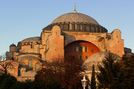 Istanbul, Turkey - October 26, 2005: Hagia Sophia, a former Orthodox patriarchal basilica, later a mosque and now a museum at sunset