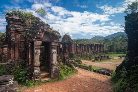 Remains of Hindu tower-temples at My Son Sanctuary, a UNESCO World Heritage site in Vietnam Editorial