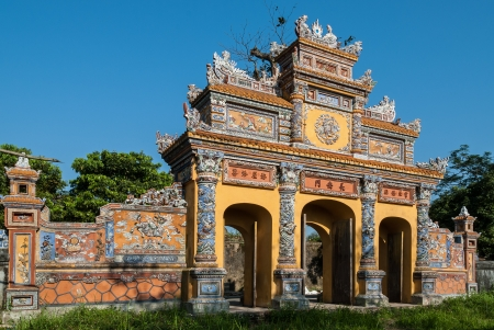 hue: One of the most magnificent and well preserved gateways in the protected by UNESCO old imperial city of Hue, Vietnam