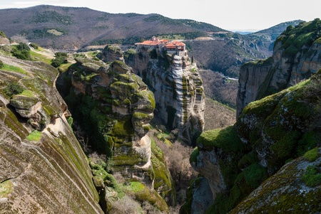 Meteora cliffs and the Holy Monastery of Varlaam  founded in the middle of 16th century AD  in Greece Stock Photo