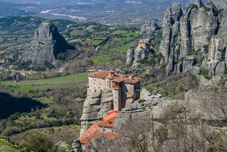 Meteora cliffs and the Holy Monastery of Roussanou   St  Barbara  founded in the middle of 16th century AD  in Greece