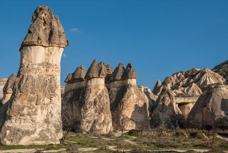 Typical landscape with hoodoos  or fairy chimneys  in Cappadocia, Turkey Stock Photo