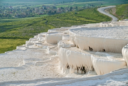 Natural travertine pools and terraces in Pamukkale, Turkey Фото со стока