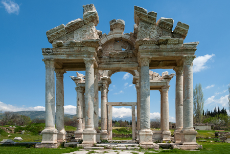 Monumental gateway in the ancient Greek city of Afrodisias in Geyre, Turkey