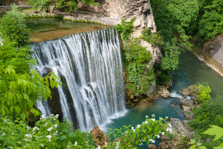 The magnificent waterfall in the center of Jajce, Bosnia and Herzegovina Stock Photo