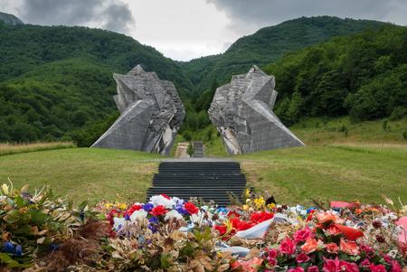 The World War II monument in Sutjeska National Park, Bosnia and Herzegovina