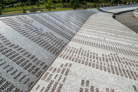 Part of the Srebrenica Genocide Memorial on June 25, 2009 in Potocari, Bosnia and Herzegovina  More than 6 000 victims are buried in the  5 8 million memorial-cemetery complex, built thanks to various donations from private groups and governments