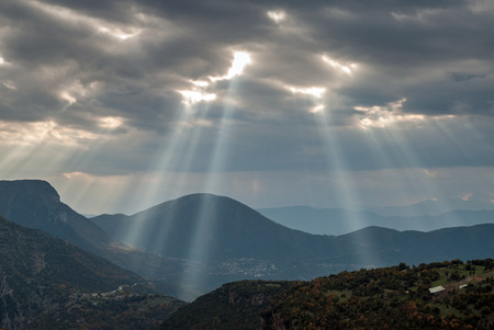 Mountain landscape with heavy clouds in Epirus, Greece, in autumn Stock Photo