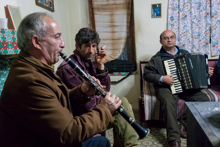 transnational: A group of unidentified musicians plays during a local festival at the Prespes Lakes in Greece on December 6, 2009  The Prespes Lakes are an important Transnational Park, divided between Albania, Greece and FYROM