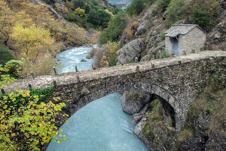 Traditional stone bridge in Epirus, Greece Stock Photo