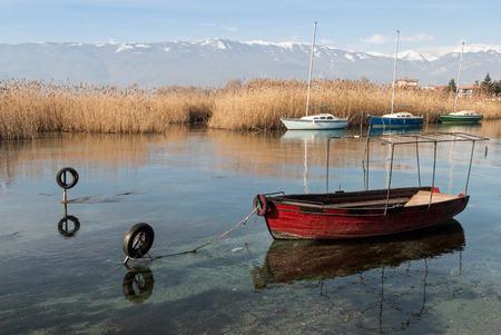 balkans: Boats in Lake Ohrid, the deepest lake of the Balkans, in Republic of Macedonia