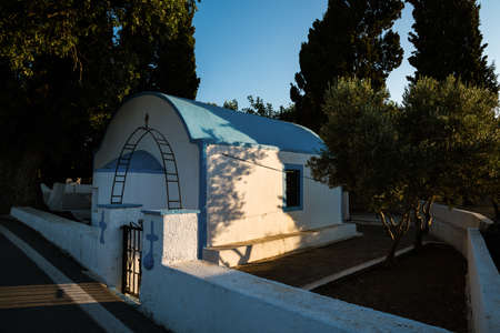 Traditional church in sunset in Kos island, Greece Stock Photo