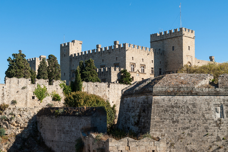 greece: Part of the impressive medieval castle in Rhodes, Greece