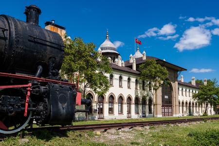 edirne: The historic railway station, now university, in Karaagac, near Edirne, Turkey