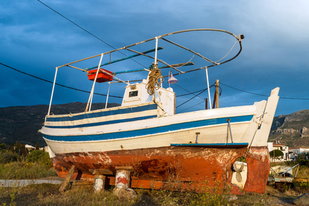 laconia: Traditional wooden fishing boat in Peloponnese, Greece Stock Photo