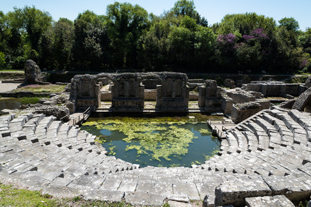 The ancient theater in the archaeological site of Butrint in Albania