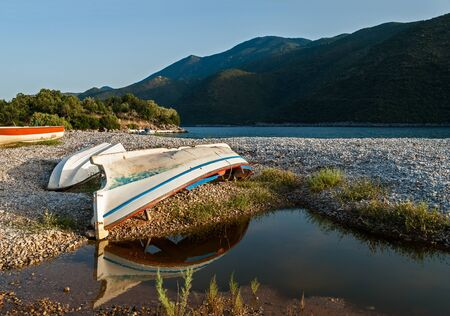 arkadia: Various boats left on a beach of Peloponnese, Greece