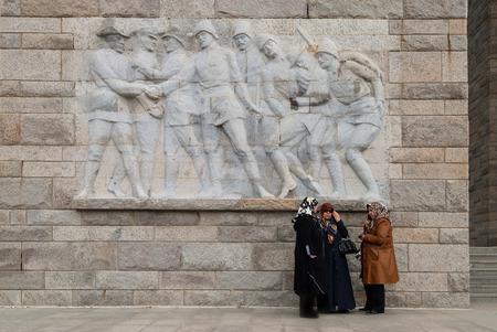 ww1: Three unidentified women visit the Canakkale Turkish Martyrs Memorial on April 4, 2014 on the Gallipoli peninsula, Turkey. Editorial