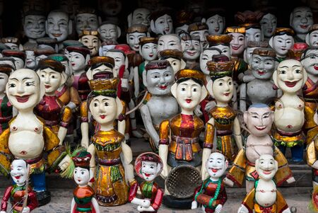 puppets: Traditional wooden puppets of the water theatre in Hanoi, Vietnam