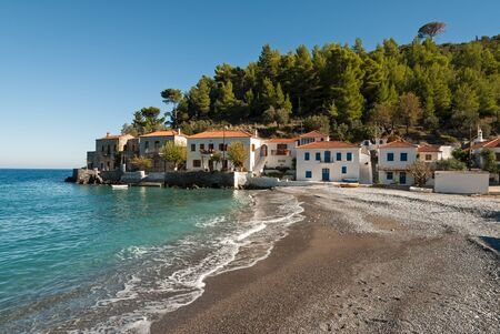 laconia: Beautiful beach and traditional white houses in the village of Kyparissi in Peloponnese, Greece Stock Photo