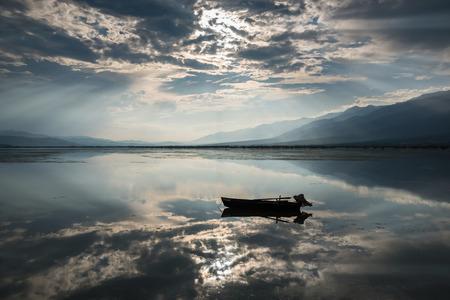 kerkini: View of Kerkini lake with dramatic sky in Greece