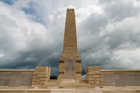 The Helles Memorial on April 18, 2014 at the Gallipoli Peninsula, Turkey. The Gallipoli Peninsula is the site of extensive First World War battlefields and memorials on the north bank of the Dardanelles Strait. Editorial