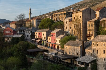 Colorful houses at sunset in Mostar, Bosnia and Herzegovina.