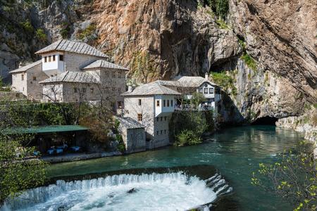 The Blagaj Tekke, a historical Dervish monastery, in Blagaj, Bosnia and Herzegovina.