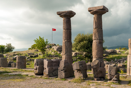 The Temple of Athena in the archaeological site of ancient Assos in Behramkale, Turkey Stock Photo
