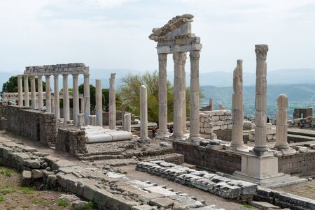 The Temple of Trajan in the archaeological site of the Acropolis of Pergamum in Bergama, Turkey Stock Photo