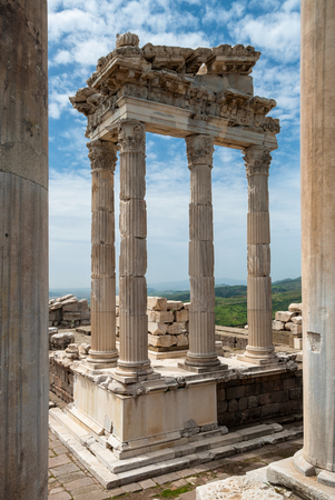 past civilizations: The Temple of Trajan in the archaeological site of the Acropolis of Pergamum in Bergama, Turkey Stock Photo