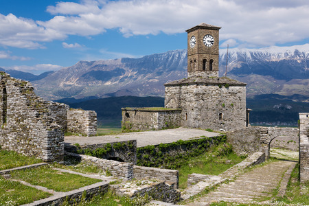 View of the Gjirokaster Castle in Albania
