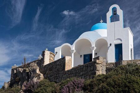 Traditional church on top of a hill in Nisyros island, Greece