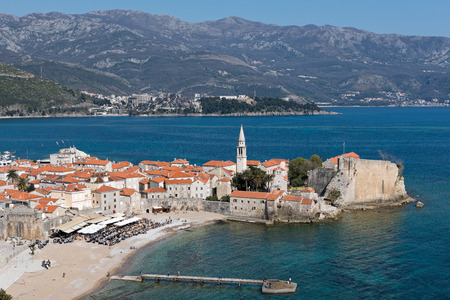 budva: Part of the fortified old town of Budva in Montenegro