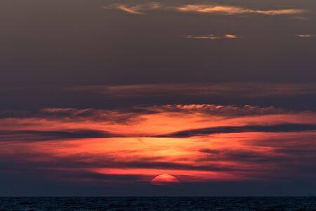 kos: Spectacular sunset in the sea in Kos island, Greece