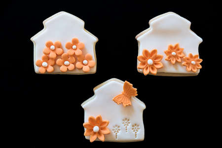 Homemade white butter cookies, decorated with orange flowers