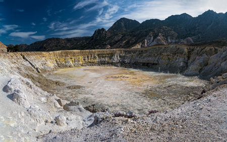 Panoramic view of the largest crater of the active volcano in Nisyros island, Greece