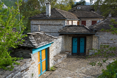 Traditional architecture in the stone village of Papigo in Epirus, Greece Stock Photo