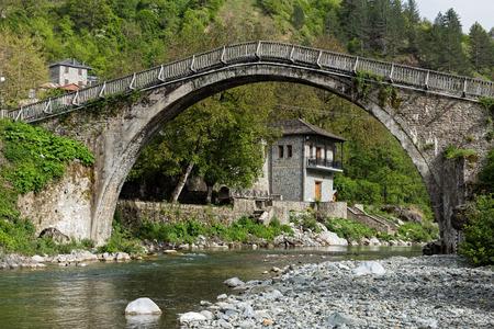 The old stone bridge of Vovousa in Epirus, Greece