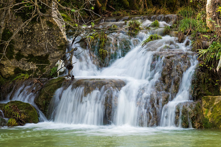 messenia: View of the Polylimnio waterfalls in Peloponnese, Greece