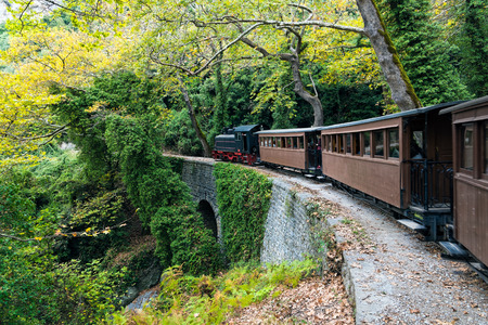 The old traditional train on Mount Pelion, Greece
